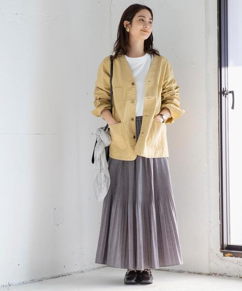 [coen] マキシ丈ヴィンテージプリーツスカート