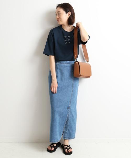 [IENA] LE DENIM タイトスリットスカート【洗濯機使用可能】◆
