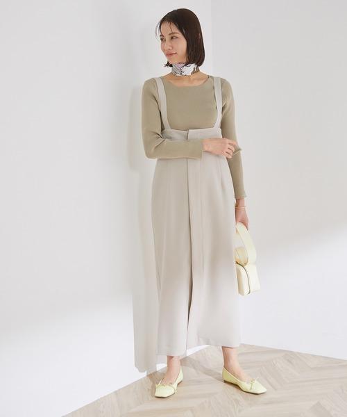 [ROPE'] 【洗える】サスペンダー付きハイウエストスカート