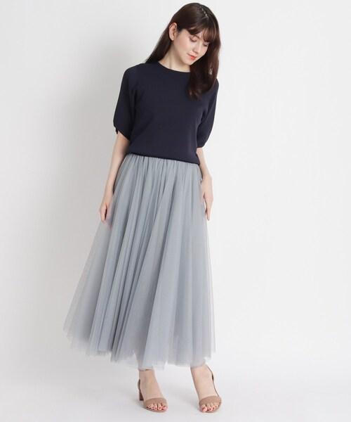 [grove] 【S-LL】チュールボリュームロングスカート