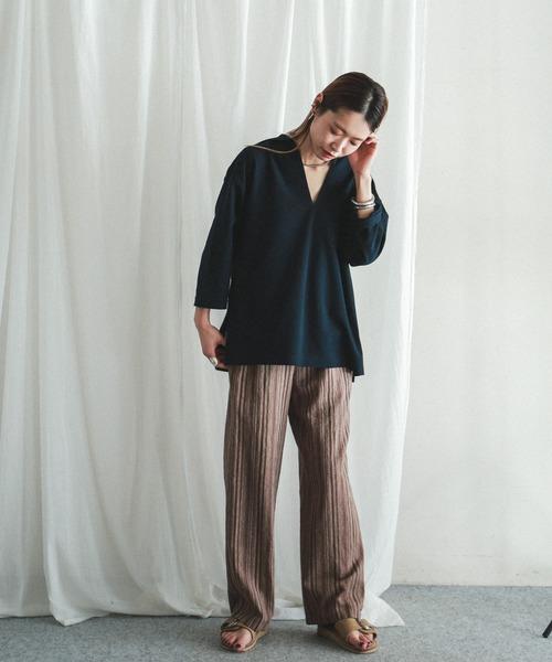 [NOMBRE IMPAIR] レーヨン麻ストライプ イージーパンツ12