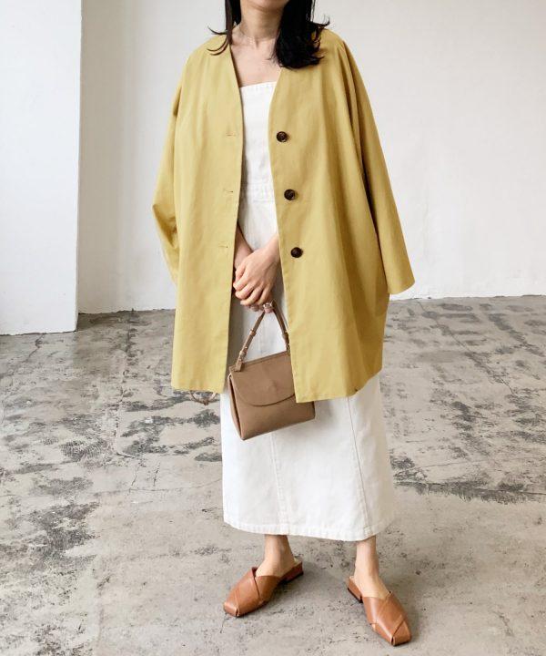 【Lian】ツイルノーカラーミドルジャケット
