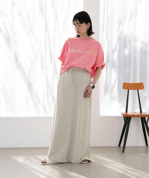 【WEB限定】FEELING MADE ブラッシュドコットン グラデーション ロゴ Tシャツ