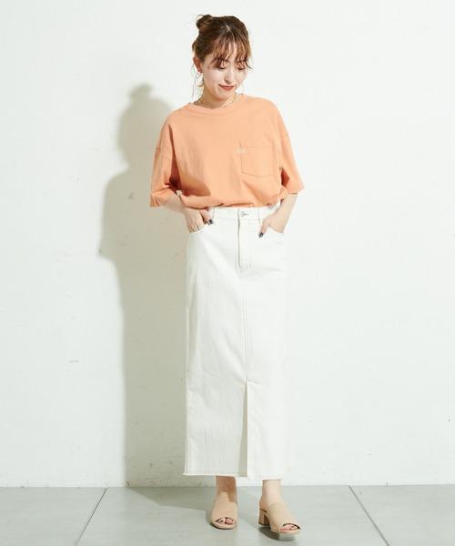 [Discoat] 配色ステッチツイルナロースカート