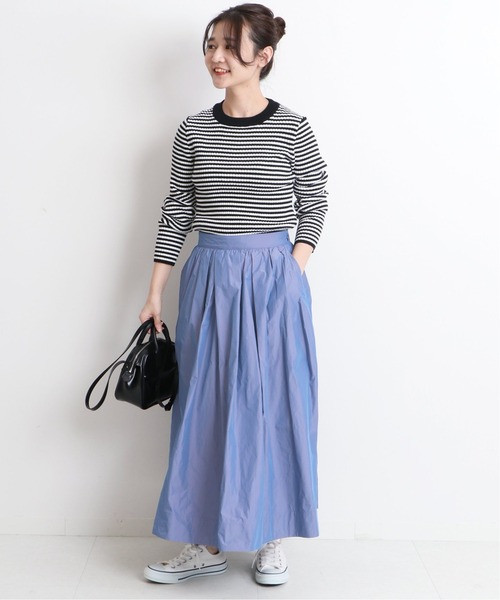 [IENA] シャンブレータフタギャザースカート【手洗い可能】◆