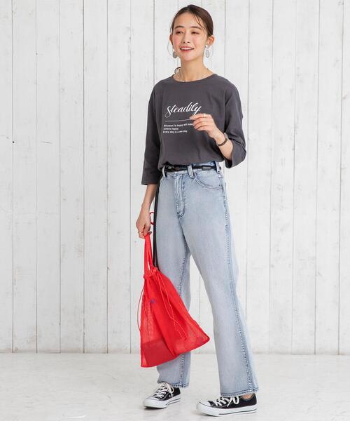 [coen] ロゴプリント7分袖Tシャツ