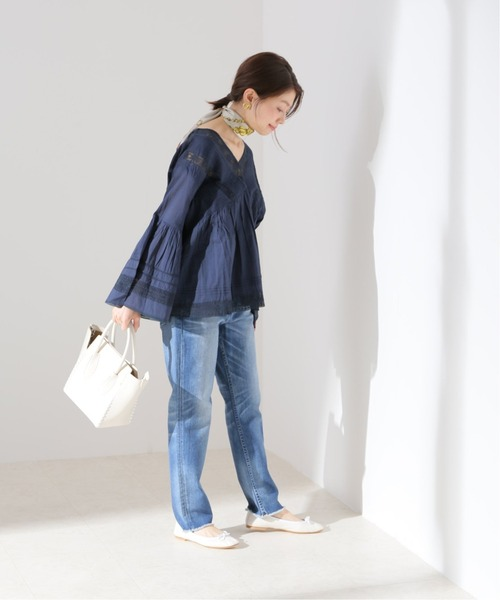[IENA] 【MOI NON PLUS】 LACE/VOIL V NECK ブラウス【洗濯機使用可】