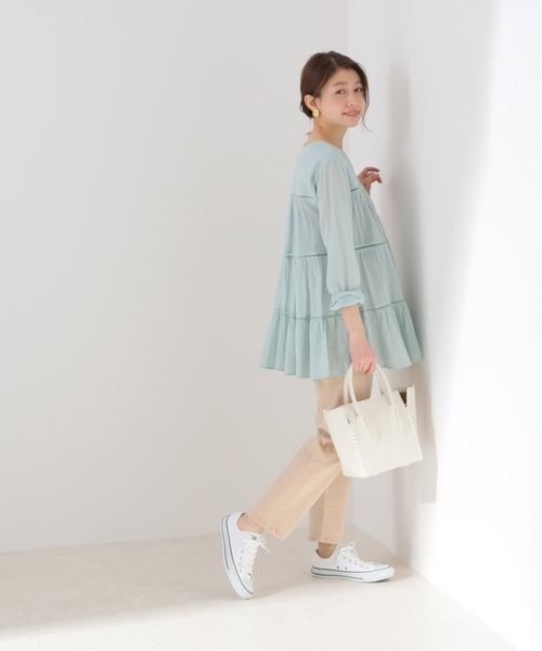 [IENA] 【MOI NON PLUS】COTTON VOILE TIERED ブラウス【洗濯機使用可】◆