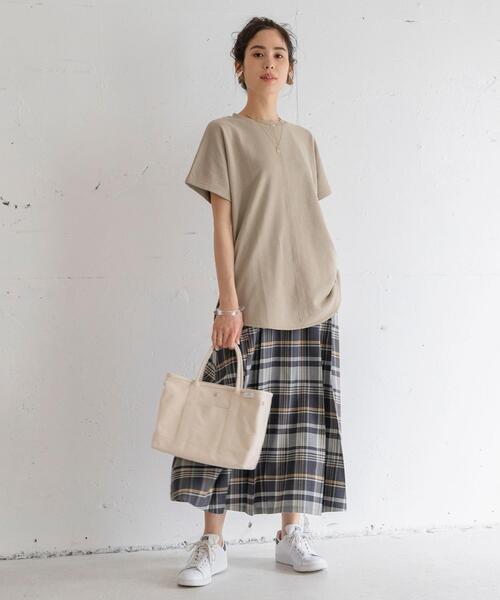 [coen] チェックロングフロントプリーツスカート#