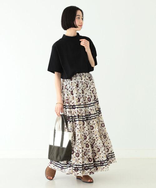[BEAMS WOMEN] trepied × BEAMS BOY / ブロック プリント マキシスカート