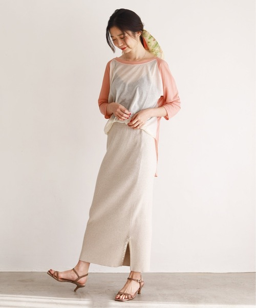 [IENA] ウォッシャブルコットンリブスカート【手洗い可能/ウエストゴム】◆