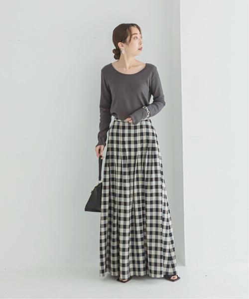 [Spick & Span] ギンガムタックフレアーマキシスカート◆2