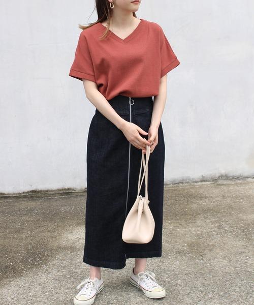 [LAVEANGE] [洗える]ワッフルVネックTシャツ