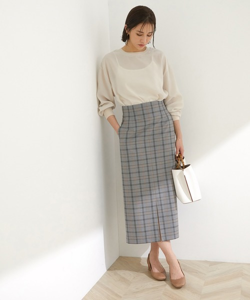 チェックストレッチタイトスカート