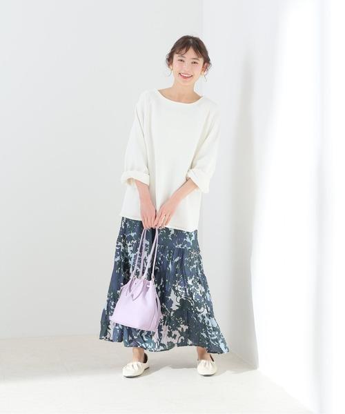 [IENA] 【MOI NON PLUS】SHADOW BOTANICAL PRINT TIERスカート【洗濯機使用可】