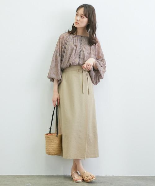 【WEB限定】リネンライクサイドリボンラップスカート