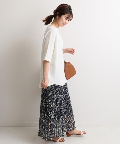 [IENA] Geometric Flower プリーツスカート【ウエストゴム】◆