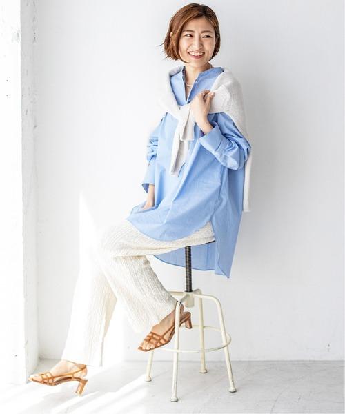 [IENA] バンドカラーオーバーサイズシャツ◆