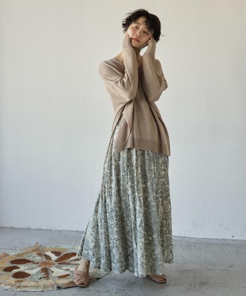 [Auntie Rosa] フラワープリントパネルスカート