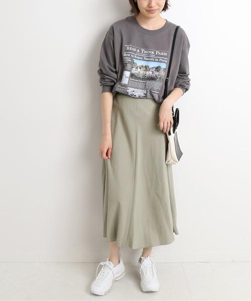 [IENA] ツイルフレアスカート【ウエストゴム/手洗い可能】◆