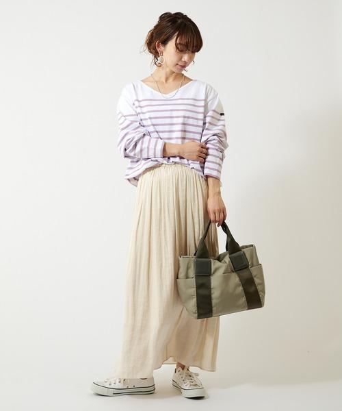 [COLLAGE GALLARDAGALANTE] 【Le minor/ルミノア別注】ボーダーVネックロンTバスクシャツ