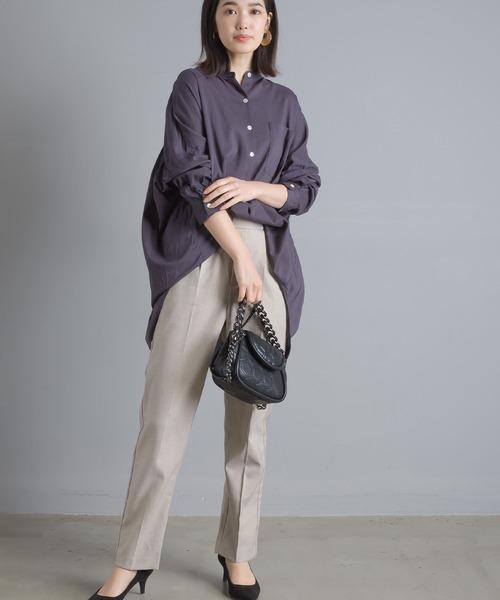 OMNES] 綿レーヨン後ギャザーシャツ