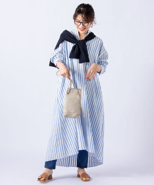 [NOLLEY'S] 【WEB限定】ストライプシャツワンピース