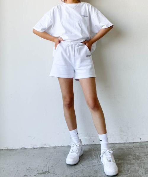[Auntie Rosa] 【セットアップで◎】SHAGGIEロゴ裏毛スウェットショートパンツ