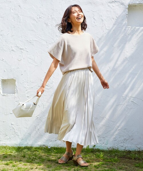 [any FAM] 【洗える】ダブルプリーツ スカート