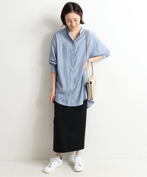 [IENA] ワッシャーサテンバンドカラーシャツ【手洗い可能】◆