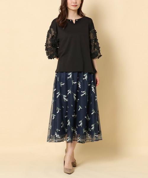 [Rose Tiara] スズラン刺繍チュールフレアスカート