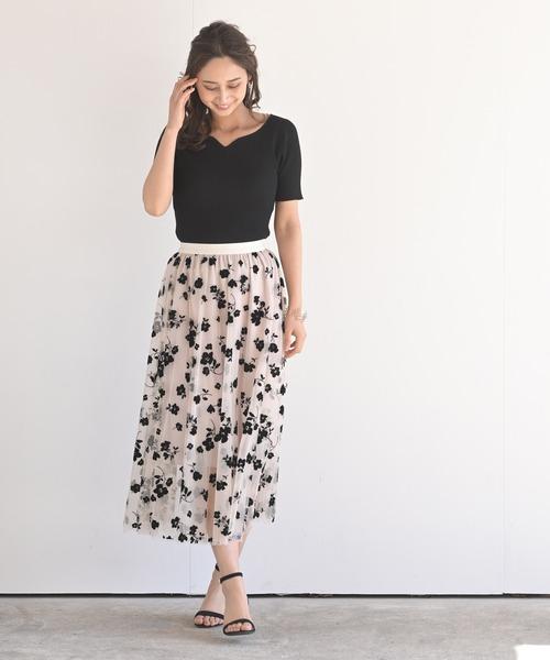 [rps] チュールフロッキーロングスカート