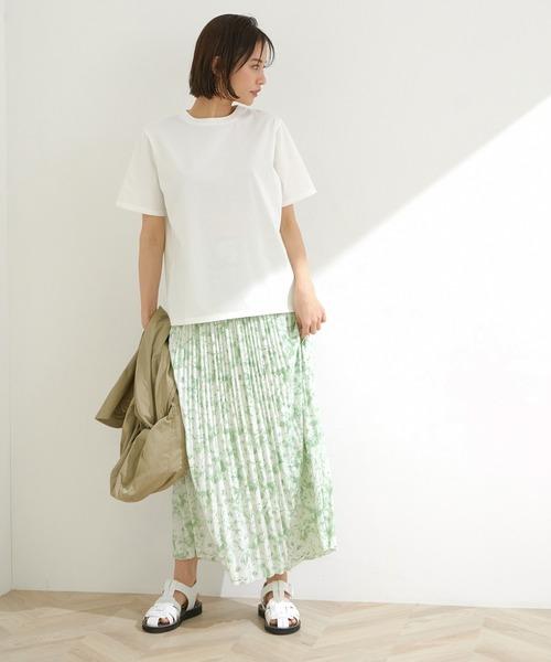 [ROPE'] 【洗える】【セットアップ対応】プリントプリーツスカート
