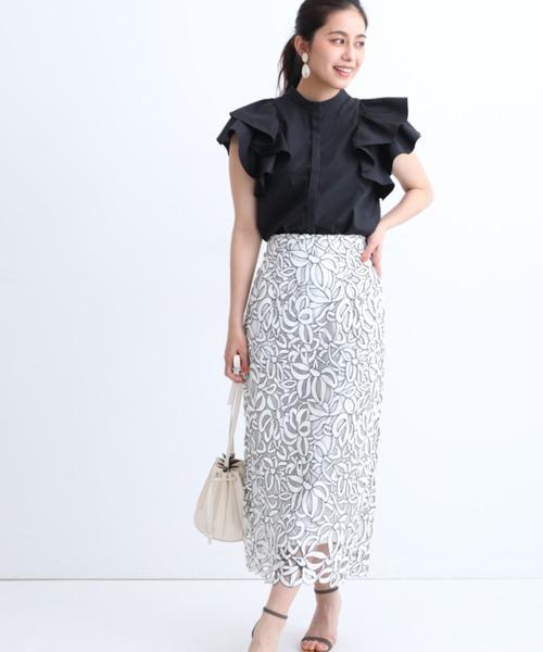 [Apuweiser-riche] 大柄レースタイトスカート