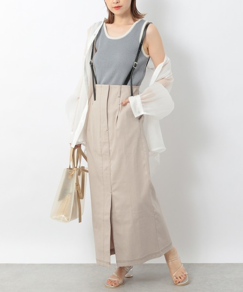 [Heather] フロントスリットサスツキIラインスカート 947724