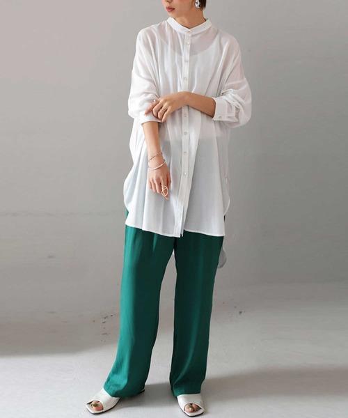 [antiqua] ロングシアーシャツ