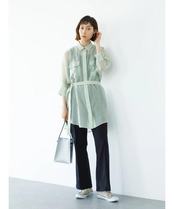 【koe]】ベルト付きシアーシャツチュニック
