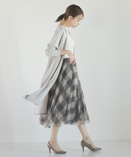 [ketty online store] シフォンチェックフレアスカート