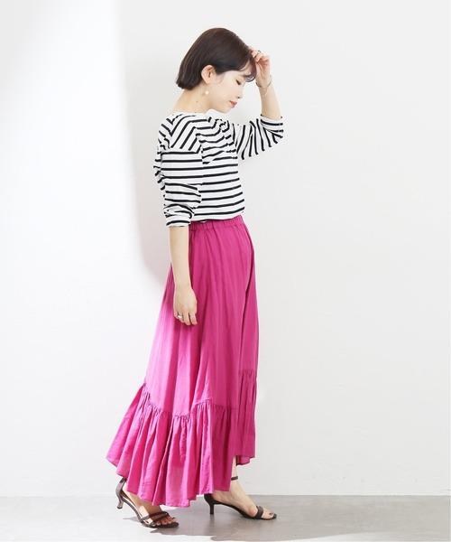 コットンツイルランダムスカート【手洗い可能】◆