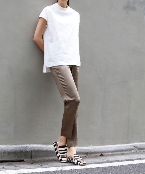 [GIRL] 【綿100%使用】モックネック半袖コットンカットソー・Tシャツ