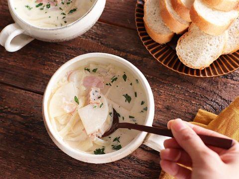 洋風♪大根とベーコンのミルクスープレシピ