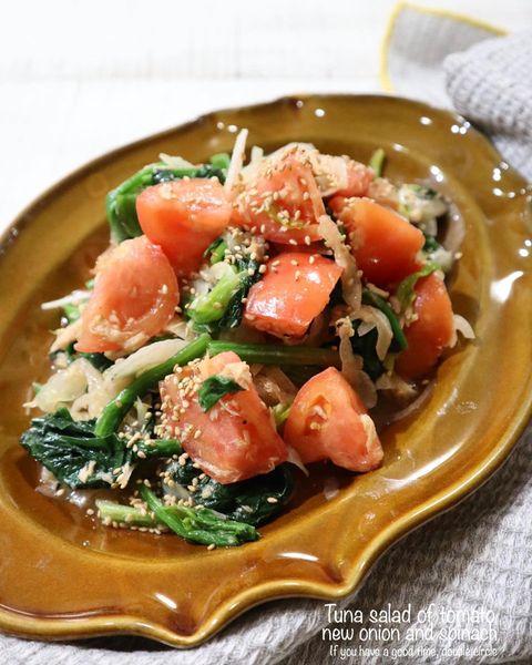簡単!ほうれん草のトマ玉ツナサラダレシピ