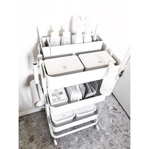 IKEAの人気ワゴンを使った掃除グッズ収納