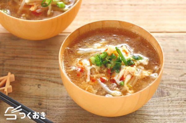 辛みと酸味が◎豚肉もやしの酸辣湯レシピ