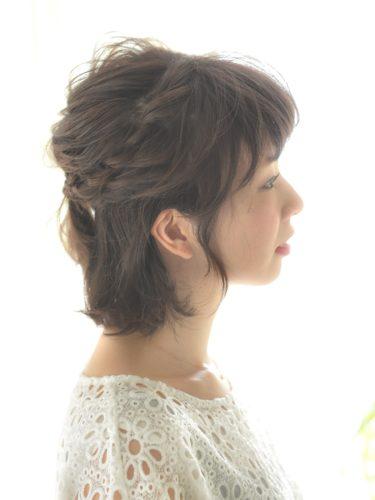 短くてもできるハーフアップのまとめ髪