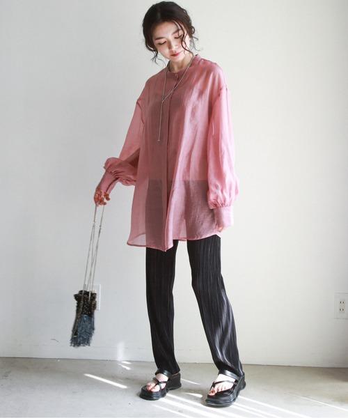 [epimi e'pimmy] バンドカラーボリュームスリーブシアーシャツ