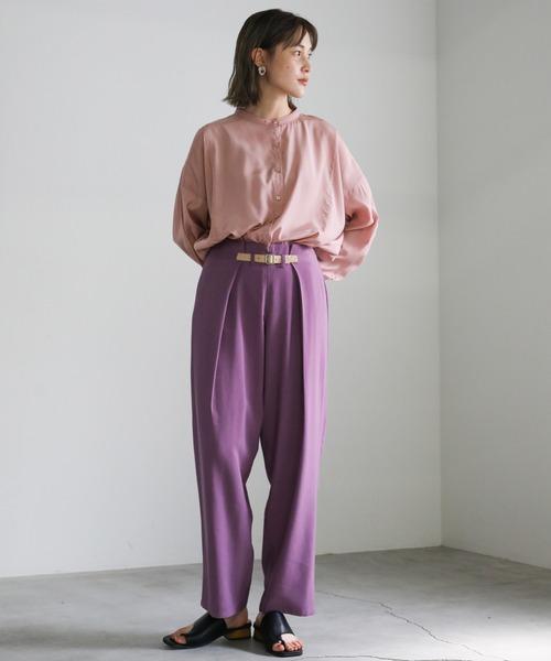 [select MOCA] 2021 SS ノーカラ―スムースサテンシャツ
