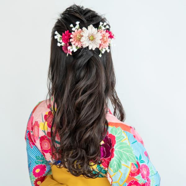 着物のミディアム髪型1