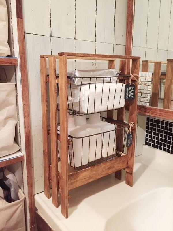スリムかごを置く洗面所100均DIY