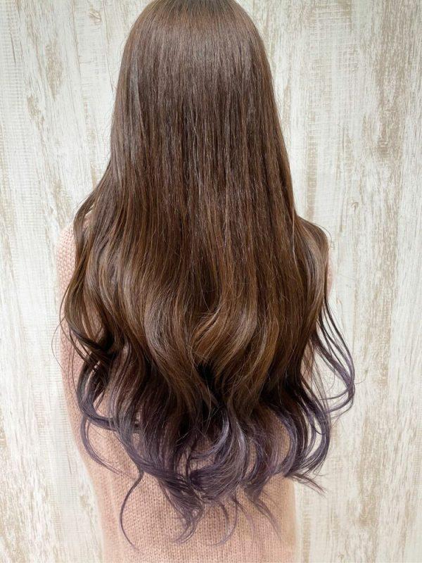 パープルの裾カラー×ロングヘア